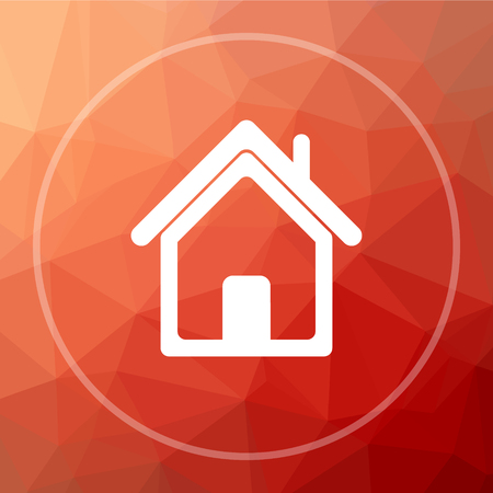 real state: Home icon. Home website button on red low poly background. Stock Photo