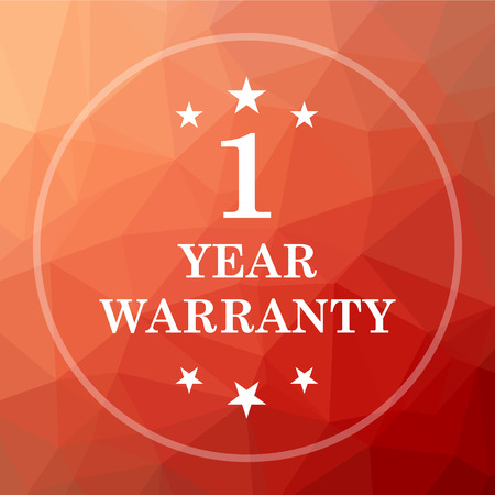 1 year warranty: 1 year warranty icon. 1 year warranty website button on red low poly background.