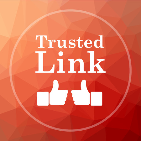 trusted: Trusted link icon. Trusted link website button on red low poly background.