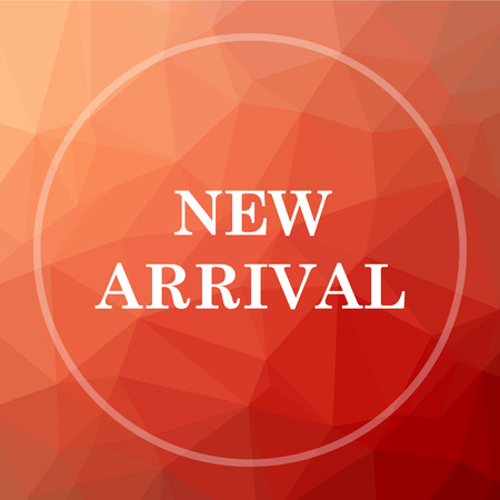arrival: New arrival icon. New arrival website button on red low poly background. Stock Photo