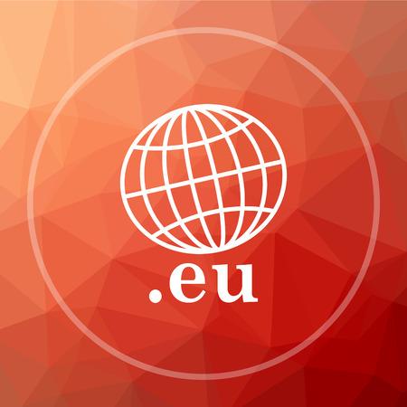 .eu icon. .eu website button on red low poly background. Stock Photo