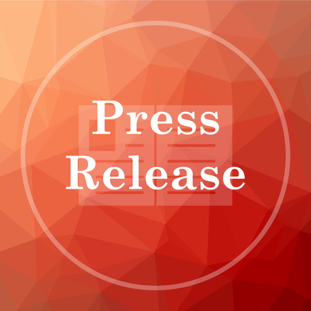 release: Press release icon. Press release website button on red low poly background.
