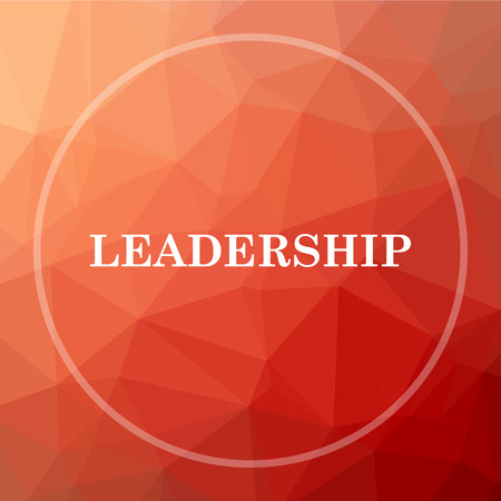 superintendence: Leadership icon. Leadership website button on red low poly background.