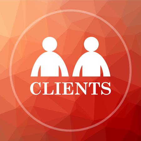 consumer society: Clients icon. Clients website button on red low poly background.