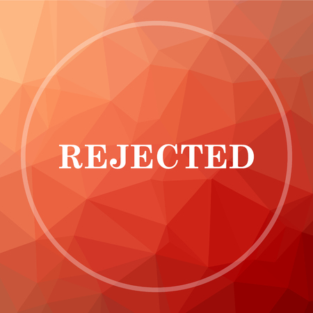 rejected: Rejected icon. Rejected website button on red low poly background. Stock Photo