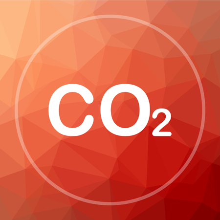 CO2 icon. CO2 website button on red low poly background.