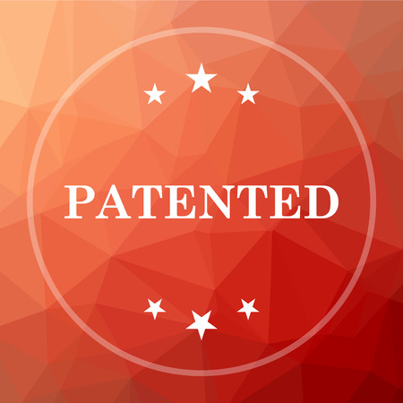 secured property: Patented icon. Patented website button on red low poly background.
