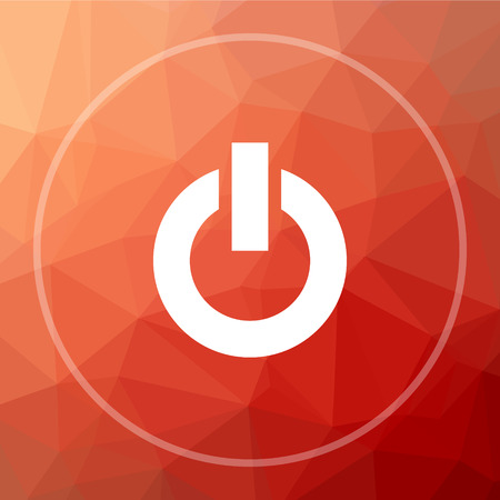 Power button icon. Power button website button on red low poly background.