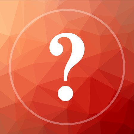 inquiry: Question mark icon. Question mark website button on red low poly background. Stock Photo