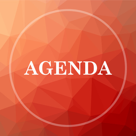 agenda: Agenda icon. Agenda website button on red low poly background.