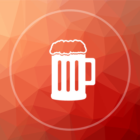 Beer icon. Beer website button on red low poly background.