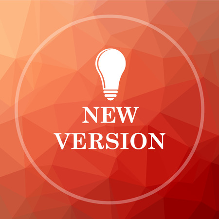 version: New version icon. New version website button on red low poly background. Stock Photo