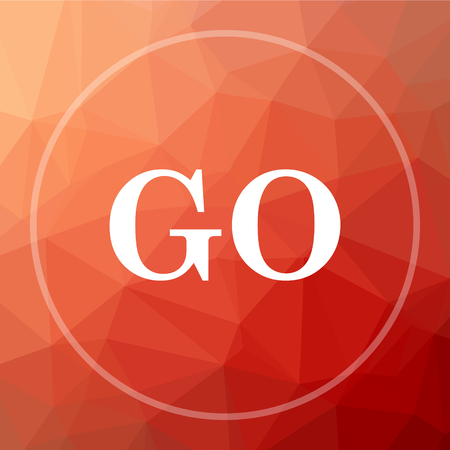 GO icon. GO website button on red low poly background.
