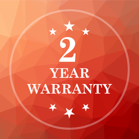 2 year warranty icon. 2 year warranty website button on red low poly background. Stock Photo