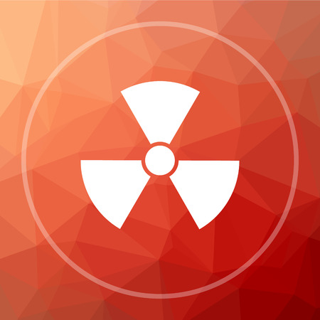 caution chemistry: Radiation icon. Radiation website button on red low poly background.