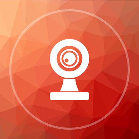 Webcam icon. Webcam website button on red low poly background. Stock Photo