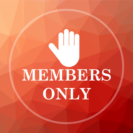 closed community: Members only icon. Members only website button on red low poly background. Stock Photo