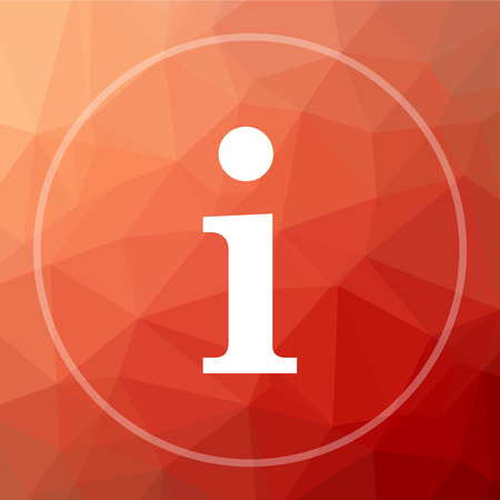 Info icon. Info website button on red low poly background.