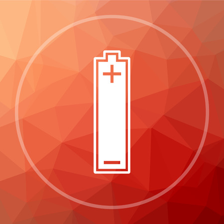 Battery icon. Battery website button on red low poly background.