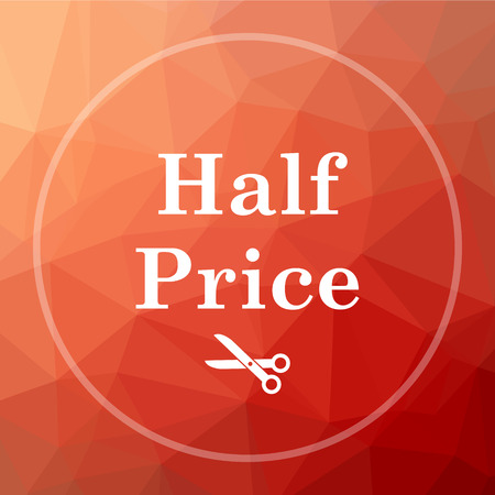 Half price icon. Half price website button on red low poly background. Stock Photo