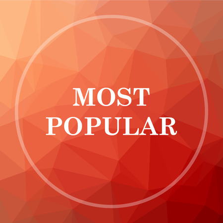 most popular: Most popular icon. Most popular website button on red low poly background. Stock Photo