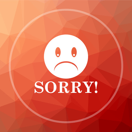 Sorry icon. Sorry website button on red low poly background. Stock Photo