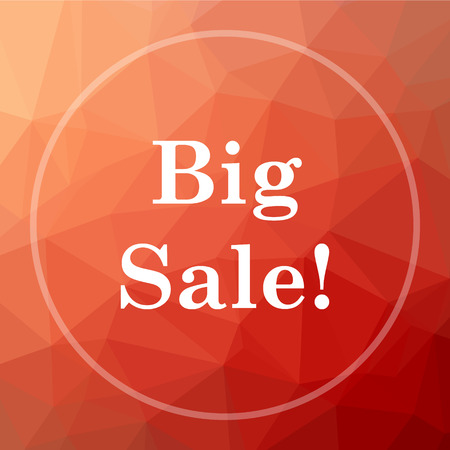 low price: Big sale icon. Big sale website button on red low poly background.