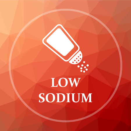 salt free: Low sodium icon. Low sodium website button on red low poly background.