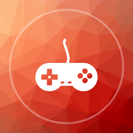 Gamepad icon. Gamepad website button on red low poly background.