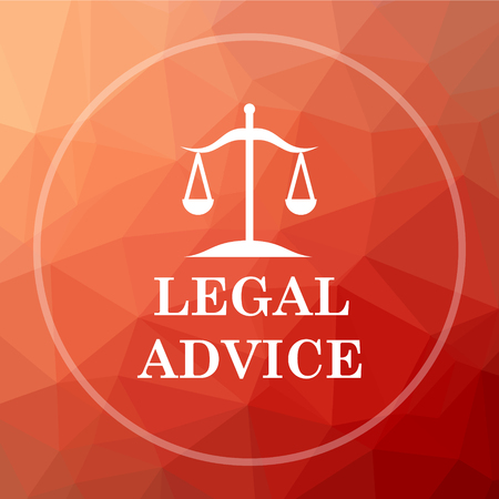 Legal advice icon. Legal advice website button on red low poly background. Stock Photo