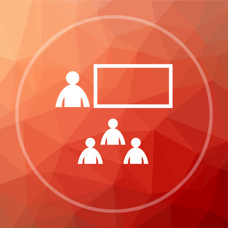 Presenting icon. Presenting website button on red low poly background.