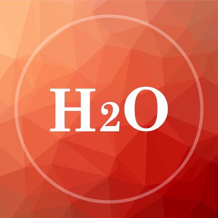 low energy: H2O icon. H2O website button on red low poly background.