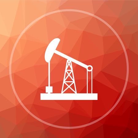 low energy: Oil pump icon. Oil pump website button on red low poly background.