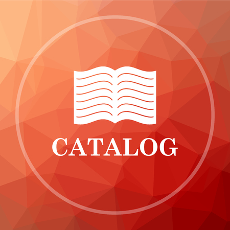 catalog: Catalog icon. Catalog website button on red low poly background.