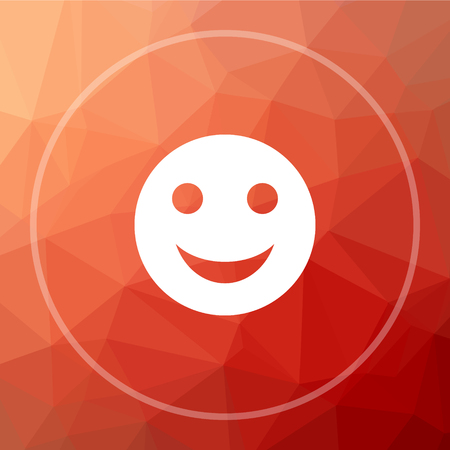 Smiley icon. Smiley website button on red low poly background. Stock Photo