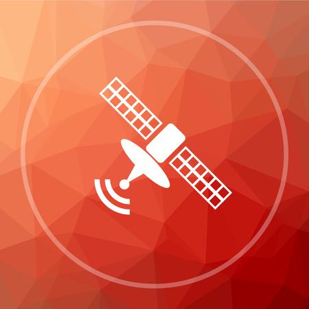 world receiver: Antenna icon. Antenna website button on red low poly background. Stock Photo