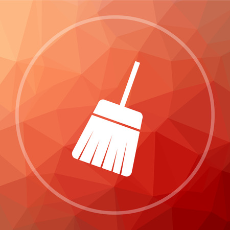 Sweep icon. Sweep website button on red low poly background. Stock Photo