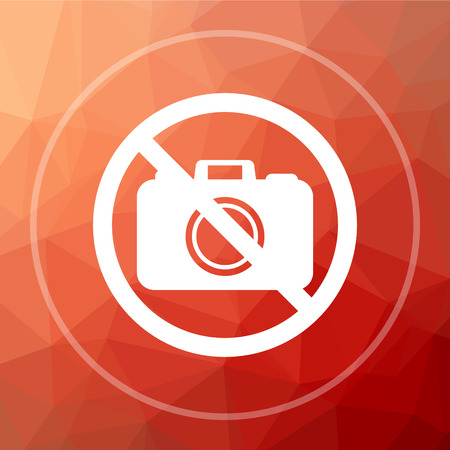 Forbidden camera icon. Forbidden camera website button on red low poly background.