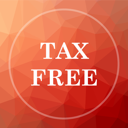 on duty: Tax free icon. Tax free website button on red low poly background. Stock Photo
