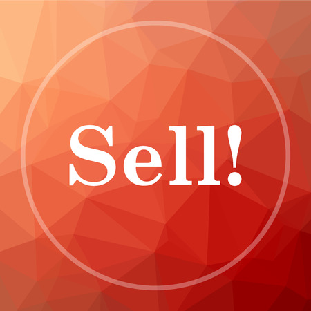 sell: Sell icon. Sell website button on red low poly background.