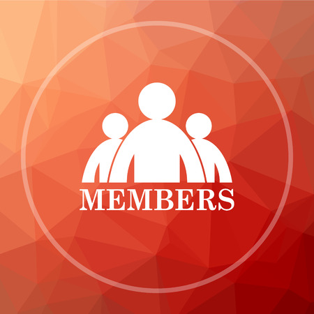 Members icon. Members website button on red low poly background.