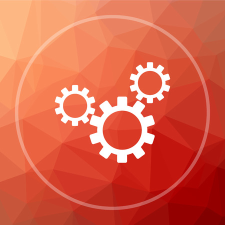 Settings icon. Settings website button on red low poly background. Stock Photo