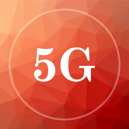 3g: 5G icon. 5G website button on red low poly background. Stock Photo