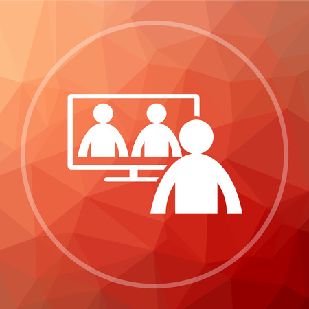 metier: Video conference, online meeting icon. Video conference, online meeting website button on red low poly background.