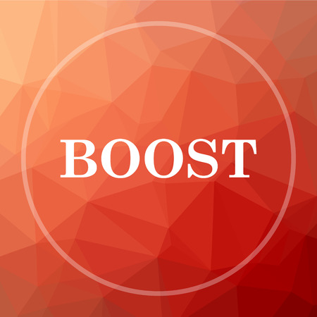 boost: Boost icon. Boost website button on red low poly background. Stock Photo