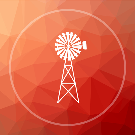 Classic windmill icon. Classic windmill website button on red low poly background. Stock Photo
