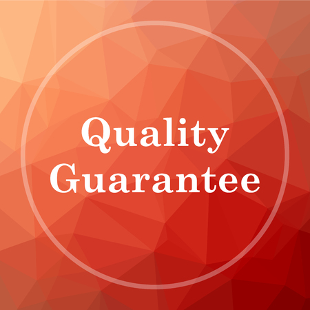 best security: Quality guarantee icon. Quality guarantee website button on red low poly background. Stock Photo