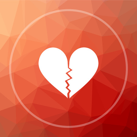 Broken heart icon. Broken heart website button on red low poly background. Stock Photo