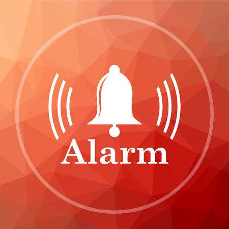 Alarm icon. Alarm website button on red low poly background.