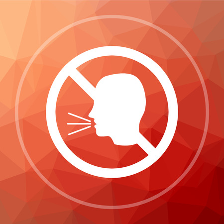 No talking icon. No talking website button on red low poly background.